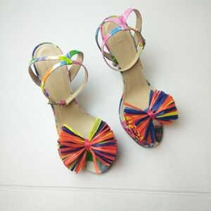 J. Crew Shoes - J. Crew~Raffia~Bow Strappy~Sandal Pumps